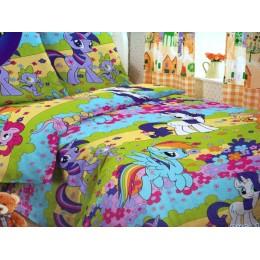 """Детское постельное белье 1,5сп. поплин """"My little Pony""""-Сказочные пони"""