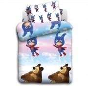 """Постельное белье в кроватку """"Маша и медведь- """"Маша супергерой"""""""
