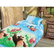 """Постельное белье в кроватку """"Маша и медведь-друзья"""""""