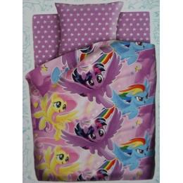 """Детское постельное белье 1,5сп.  """"My little Pony-2""""- Летающие пони"""