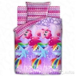 """Детское постельное белье 1,5сп. """"My little Pony""""- Подводные пони"""