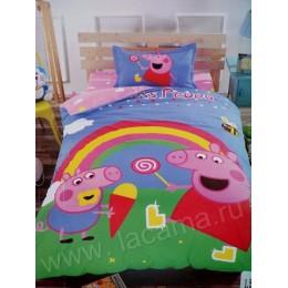 """Детский комплект """" свинка Пеппа и радуга """" сатин люкс"""