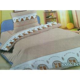 """Детское постельное белье в кроватку """"Зверюшки бежевый"""""""