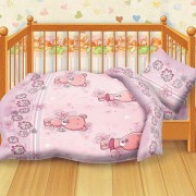 """Детское постельное белье в кроватку  Кошки-мышки """"Мишутки"""" розовый"""